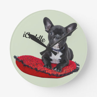 Adorable iCuddle French Bulldog Round Clock