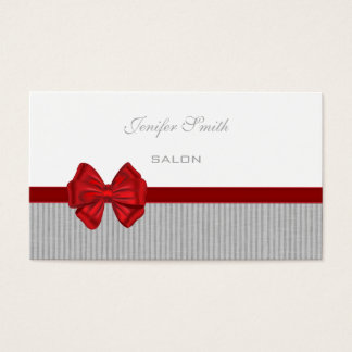 Adorable impressive elegant red bow preppy stripes business card