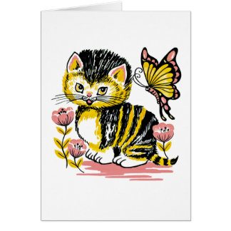 Adorable Kitten and Butterfly Kids Birthday Card
