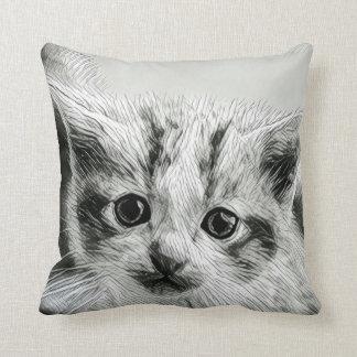 Adorable Kitten Face Throw Pillow