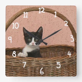 Adorable kitten in basket square wall clock