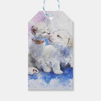 Adorable Kitten & Labrador Puppy Kiss Gift Tags