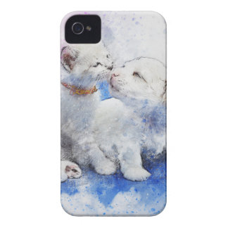 Adorable Kitten & Labrador Puppy Kiss iPhone 4 Covers