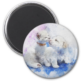 Adorable Kitten & Labrador Puppy Kiss Magnet
