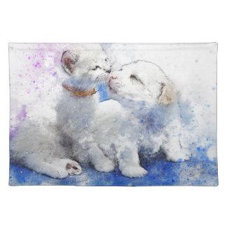 Adorable Kitten & Labrador Puppy Kiss Placemat