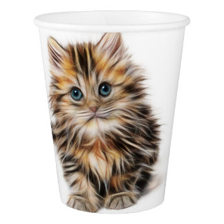 Adorable Kitten Painting Paper Cup