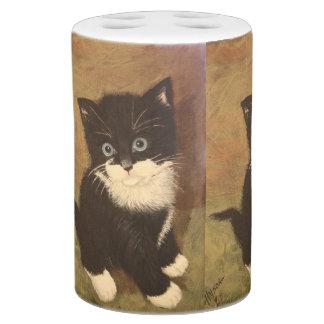 Adorable Kitten Painting Soap Dispenser And Toothbrush Holder
