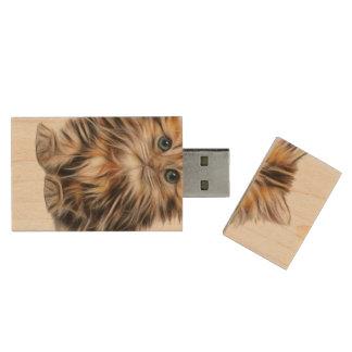 Adorable Kitten Painting Wood USB 2.0 Flash Drive
