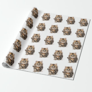 Adorable Kitten Painting Wrapping Paper