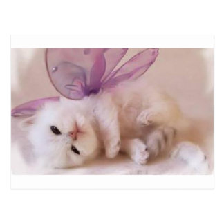 Adorable Kitten with wings Postcard