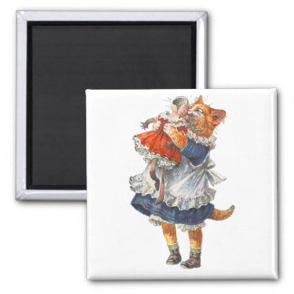 Adorable Kitty Cat Hugs Her Broken Doll. Square Magnet
