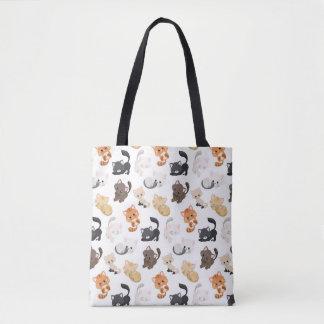 Adorable Kitty Cats Print Tote Bag