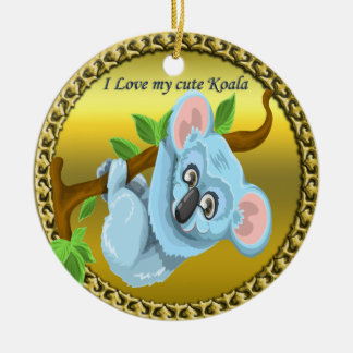Adorable koala bear hanging on a tree branch ceramic ornament