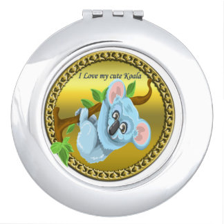 Adorable koala bear hanging on a tree branch compact mirror