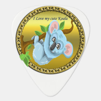Adorable koala bear hanging on a tree branch guitar pick