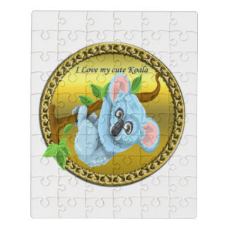 Adorable koala bear hanging on a tree branch jigsaw puzzle