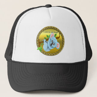 Adorable koala bear hanging on a tree branch trucker hat