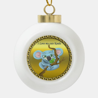Adorable koala bear in a tree in the forest ceramic ball christmas ornament