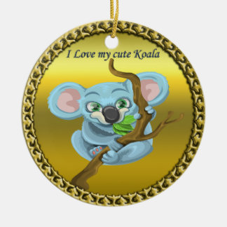 Adorable koala bear in a tree in the forest ceramic ornament