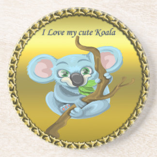 Adorable koala bear in a tree in the forest coaster