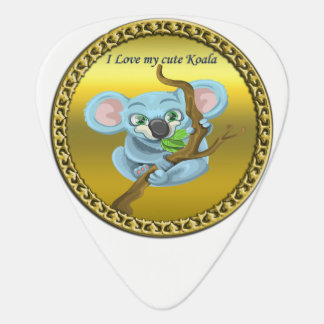Adorable koala bear in a tree in the forest guitar pick