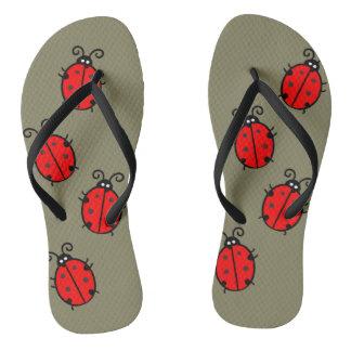 Adorable Ladybug Design Flip Flops
