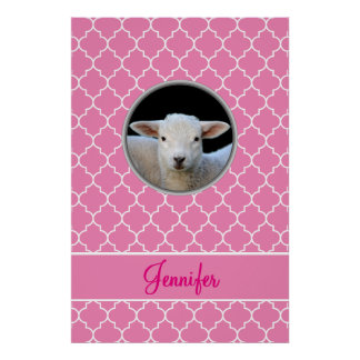 Adorable Lamb Pink Quatrefoil with Name Poster