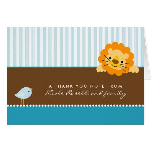 Adorable Lion Photo (inside) Thank You Card (aqua)