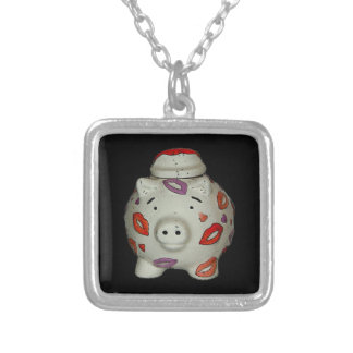 Adorable Lipstick Pig Silver Plated Necklace