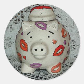 Adorable Lipstick Pig Round Stickers