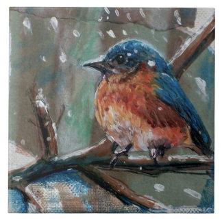 Adorable Little Blue Bird Ceramic Photo Tile