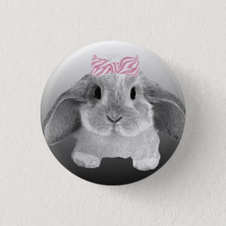 Adorable little bunny with a pink bow 3 cm round badge