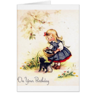 Adorable Little Girl And Kittens Birthday Card