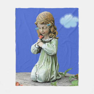 Adorable Little Girl With Flowers. Fleece Blanket