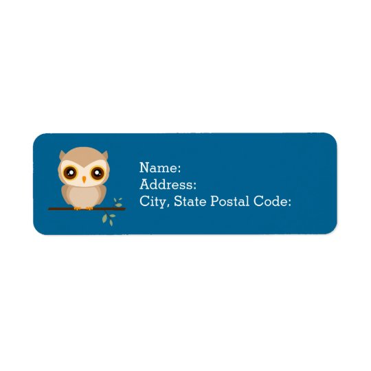 Adorable little owl on tree branch return address label