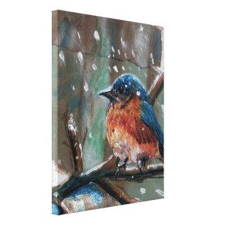 Adorable Little Primitive Blue Bird Painting Canvas Print