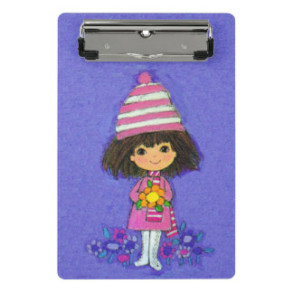 Adorable Little Vintage Girl Pink Outfit Flowers Mini Clipboard