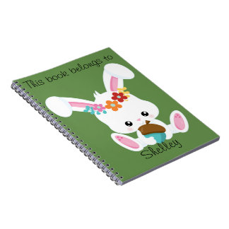 Adorable Little White Bunny Personalized Notebooks