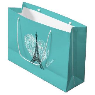 Adorable Love Paris Gift | Aqua Large Gift Bag