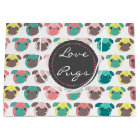 "Adorable "" Love Pugs"" colourful pugs illustration Large Gift Bag"