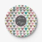 "Adorable "" Love Pugs"" colourful pugs illustration Paper Plate"