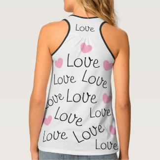 Adorable Love Word Pattern Pink Hearts Singlet