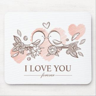 Adorable Lovebirds In Love Valentine | Mousepad