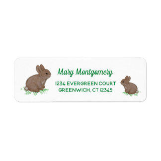 Adorable Mama and Baby Bunny in Clover Return Address Label