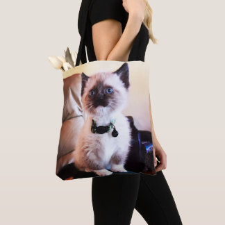 Adorable Masked Blue Eyed Siamese Kitten Photo Tote Bag