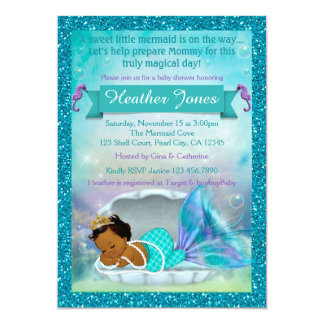 Adorable Mermaid Baby Shower Invitations #135 DARK