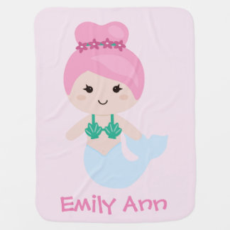Adorable Mermaid Name Blanket Pink