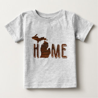 Adorable Michigan is Home | Wood Silhouette | Cute Baby T-Shirt