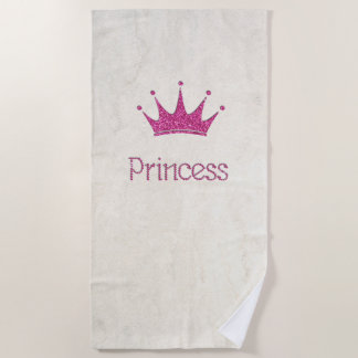 Adorable,Modern,Girly,Glitter Tiara Princess Beach Towel