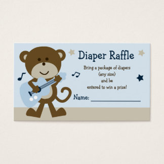 Adorable Monkey Rockstar Diaper Raffle Tickets